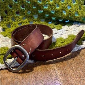 American Eagle Leather Belt heart buckle holes